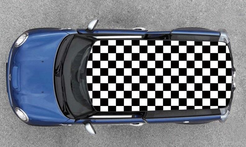 damier noir et blanc pour toit de voiture