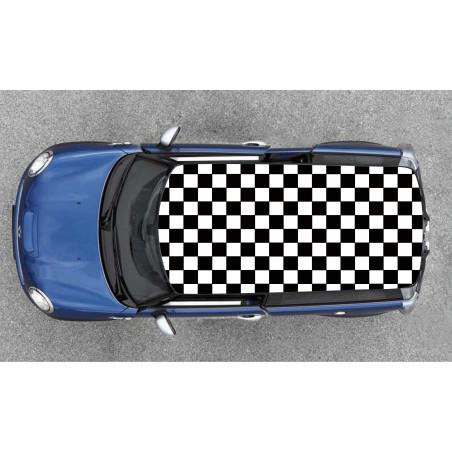 Sticker damier pour toit de voiture