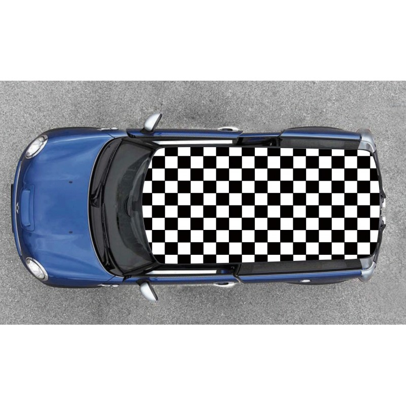 sticker motif damier pour toit de voiture petit carreaux covering. Black Bedroom Furniture Sets. Home Design Ideas