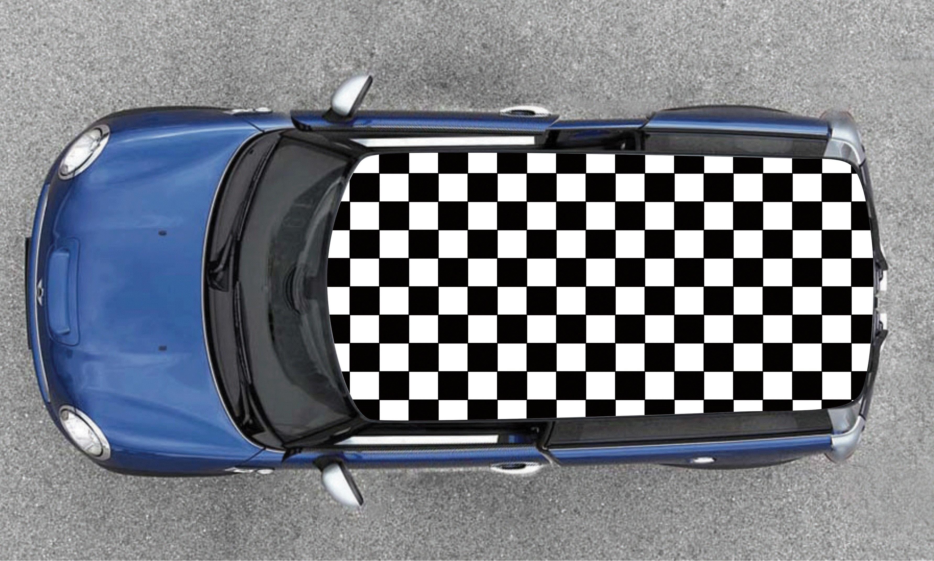 Sticker motif damier pour toit de voiture petit carreaux covering